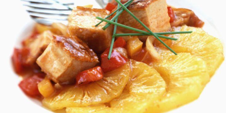 carbonnades de porc - Sauté de porc curry, lait de coco et ananas